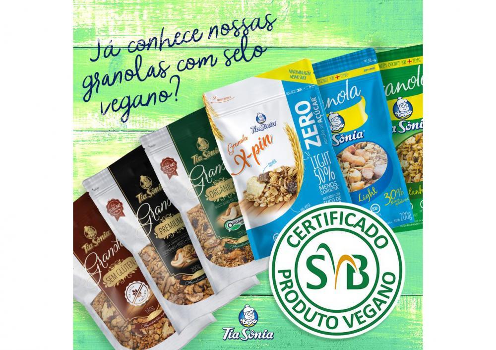 Conheça as granolas com certificação vegana Tia Sônia