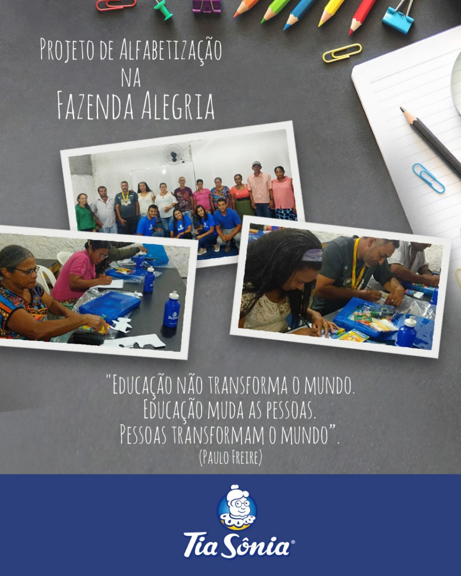 Projeto de Alfabetização da Tia Sônia na Fazenda Alegria